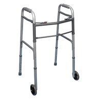 Bilt Rite 10-99011 Double Button Walker with Wheels