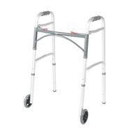 "Drive Medical 10210-1 Deluxe Two Button Folding Walker w/ 5"" Wheels"
